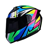 KKmoon Casco per Moto, Casco Integrale per Donne Uomini Adulti, 61-62 cm, Attrezzatura per Motociclisti Quattro Stagioni Universale, Multicolore, XL
