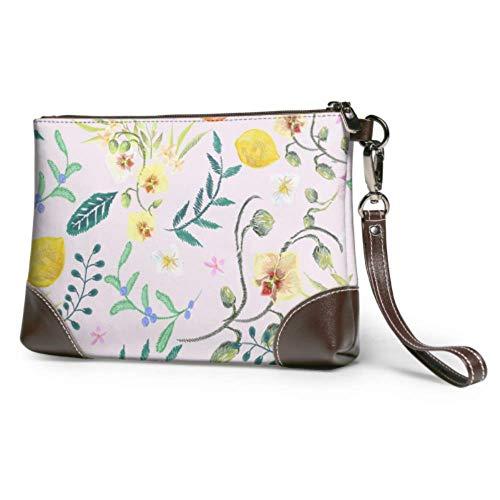 Wristlet Handbag Embroidery Floral Neckline Orhids Leather Wristlet Clutch Wallet For Women Large Wristlet Purse Smartphone Wristlet Purse
