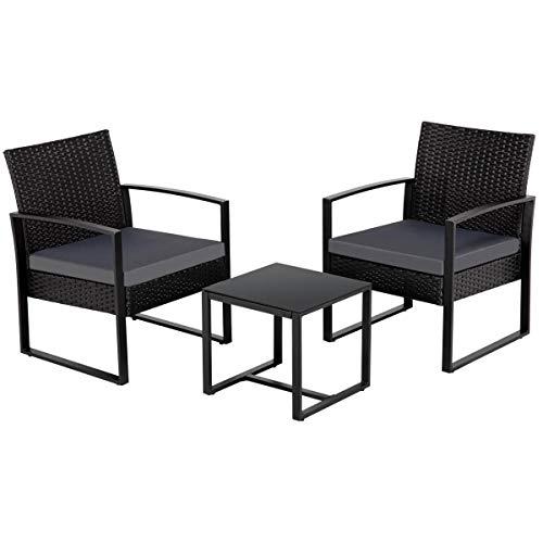 Yaheetech Gartenmöbelset 3 teilig Polyrattan Sitzgruppe Gartengarnitur Balkon-Set Lounge-Set Schwarz mit Sitzkissen