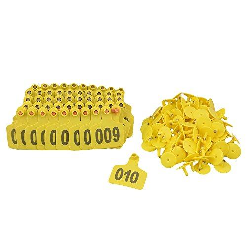RDEXP Yellowlow 60 x 74 mm, Numero 1-100, Etichette Grandi per Bestiame, in plastica, Confezione da 100