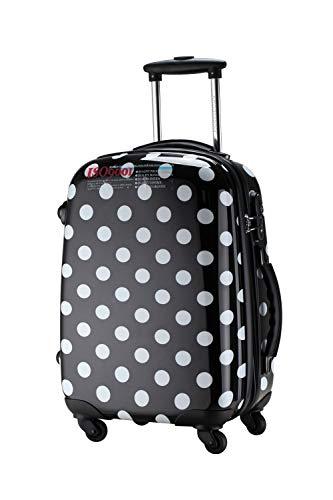 Ambassador Luggage Polka Dot Print Style Luggage Travel Spinner Suitcase (Black, Small)