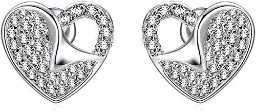 Pendientes para mujer de plata de ley 925 con forma de corazón y circonitas para niñas.