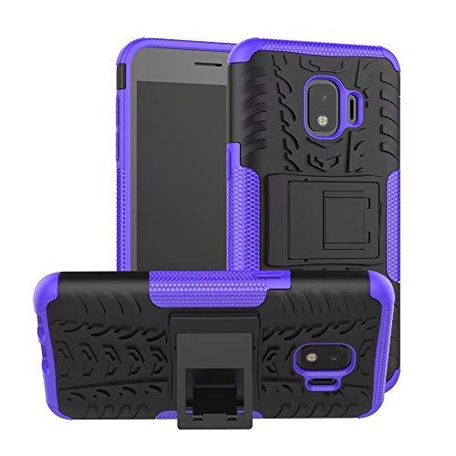 Smfu Funda Compatible Samsung Galaxy J2 Core Carcasa Rugged Híbrido Resistente Absorción Anti-arañazos Funda Absorción Impactos con Pie De Apoyo Caja [con Mica 2Unidades]-Púrpura
