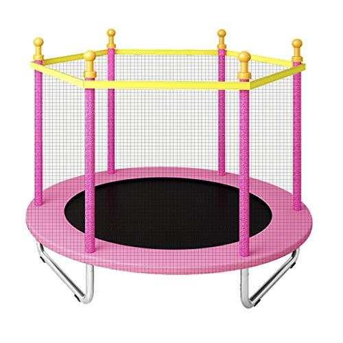 Trampolines de interior Trampolín casero niños Niño Saltando de la Cama Trampolín con Red de protección Trampolín de Fitness Cama para bebé (Color : Pink, Size : 160 * 160 * 125cm)