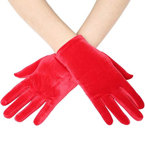 BABEYOND Short Opera Vlvet Gloves Wrist Banquet Gloves Tea Party Dancing Gloves Special Occasion Gloves for Women (Red)