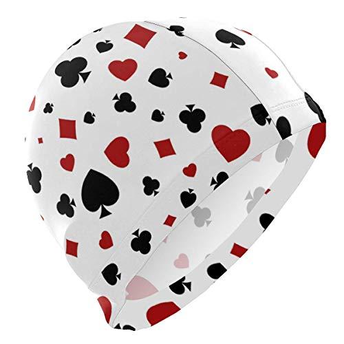 Agoyls Bonnet de Bain/Bonnet de natatio,Heart Diamond Spade and Clubs Adult Swimming Cap 3D Ergonomic Swim Hat Reduce Resistance Bathing Cap for Men Women
