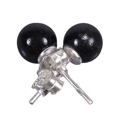 Schwarzer Turmalin/Schörl Ohrstecker 8 mm Kugeln auf 925er Silber