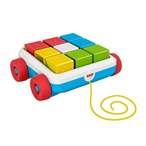 Fisher-Price GJW10 - Bausteinwagen, Spielzeug Bollerwagen für Babys ab 6 Monaten