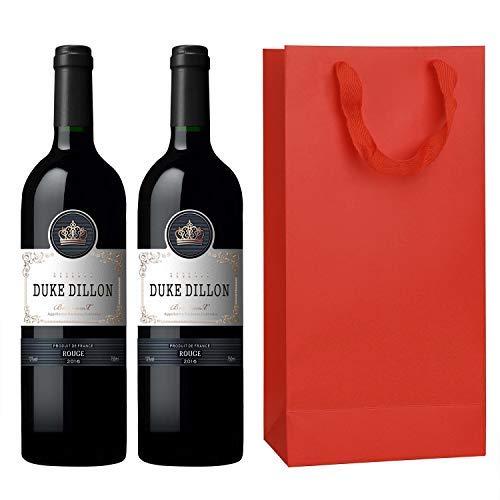 IPENNY 10 Stück Flaschentüten für 2 Flaschen Geschenktüten für Wein mit Henkel 17 * 9 * 35 CM Kraftpapier Weintragetüten Flaschenbeutel Papierbeutel Papiertüten