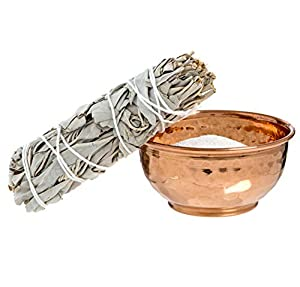 Hammered Copper Offering Bowl Kit. Includes Sand and Sage