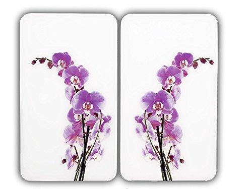 WENKO Herdabdeckplatte Universal Orchideenblüte 2er Set - 2er Set, Kochplattenabdeckung und Glas-Schneidebrett für alle Herdarten, Gehärtetes Glas, 30 x 1.8-5.5 x 52 cm, Mehrfarbig