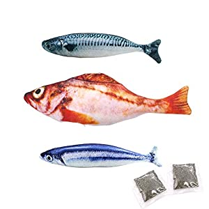 3pcs Juguetes con Hierba gatera,20CM Juguetes del Catnip, Forma de pez,Interactiva Mascota,Forma de pez para Gatos, Masticar Gatos, Almohada. 8