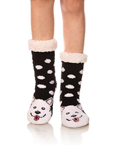 Womens Super Soft Cute Cartoon Animal fuzzy Cozy Non-Slip Winter Slipper Socks (Dog)