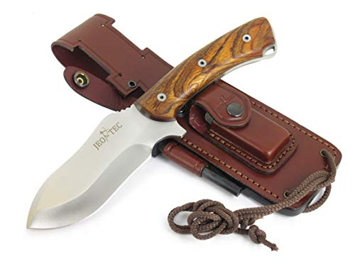 JEO-TEC Nº35 Bushcraft Survival Hunting Camping Knife, MOVA-58, Genuine Leather Multi-Position Sheath + Firesteel + Sharpener Stone, Handmade