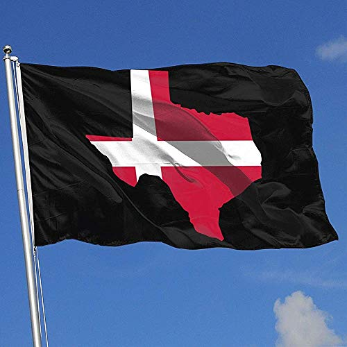 qinzuisp Yard Vlag Denemarken Vlag Van Texas Kaart Polyester Banner Met Grommets Huis Vlag Welkom Tuin Vlag Yard Vlag Yard Banner Kleurrijke Outdoor Mooie Levendige 150X90Cm