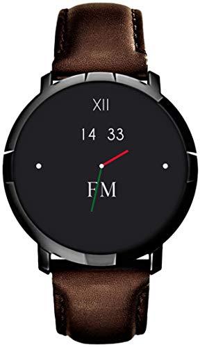 Smartwatch FLORENCE MARLEN FM1R | Disegnato In Italia | 2 CINTURINI | Uomo-Donna Cinturino Pelle Milano Marrone |Orologio,Water-Resistant|Cardiofrequenzimetro,Contapassi,Notifiche|IOS & Android