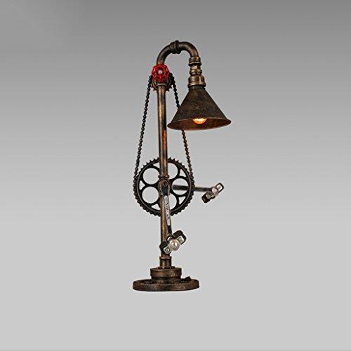 Legely American Industriële retro waterlamp van smeedijzer, licht, slaapkamer, woonkamer, café, handdecoratie, tafellamp, E27 warmwit licht (kleur: roest) simulatie fietsdesign
