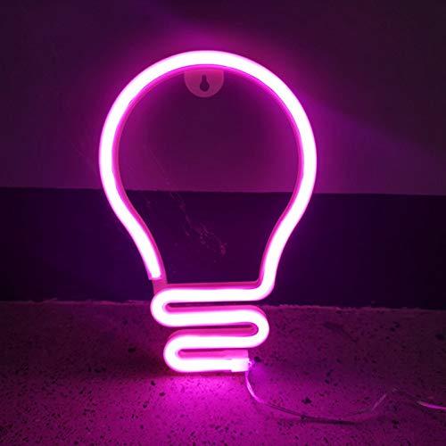Bombilla De Luz Luz De Neón Modelado Lámpara LED Signos LED Bombilla En Forma Atmósfera Lámpara Partido Decoración De Pared USB Noche Luz,Rosado