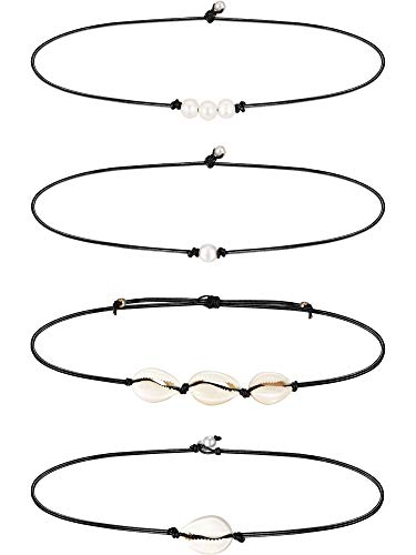 4 Pieces 3 Bead Pearl Choker Necklace and Single Shell Necklace on Black Leather Cord Choker Necklace Set for Women Girl Gift