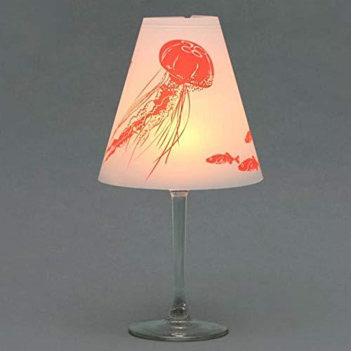 Helene am Meer · 3 Weinglas Lampenschirme · zum Zusammenstecken ·aus Pergament, bedruckt in neon-orange