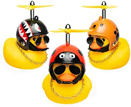 Haooryx 3 Pack Cute Rubber Duck Toys Car Ornaments Cool Glasses Yellow Ducks Car Dashboard Decoration product image