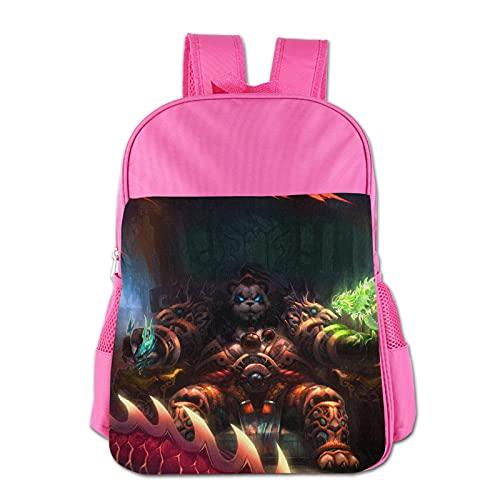 World Warcraft - Mochila para niños de poliéster impermeable para niños de 3 a 13 años, rosa, Talla única