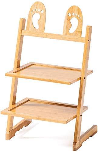 Porche - Zapatero de bambú con forma de pie, pantuflas, organizador de almacenamiento, estante para zapatos, lindos estantes para habitaciones de niños, 4 artículos para el hogar (tamaño: 3 niveles)
