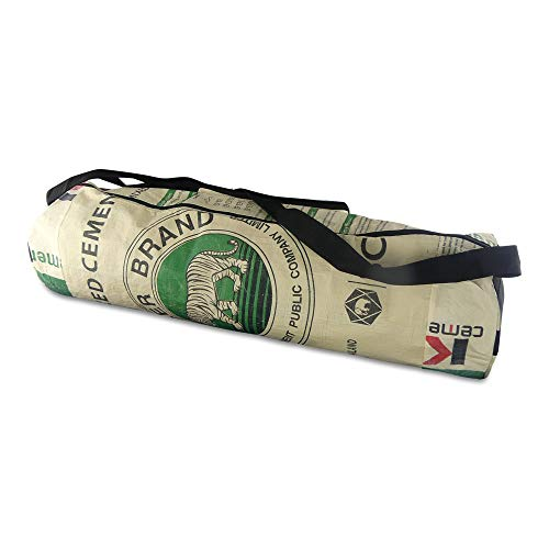 Upcycling Yoga-Tasche Relax aus recyceltem Zement- /Fischfutter-/Reissack, Farbe/Aufdruck:Tiger Beige-Grün
