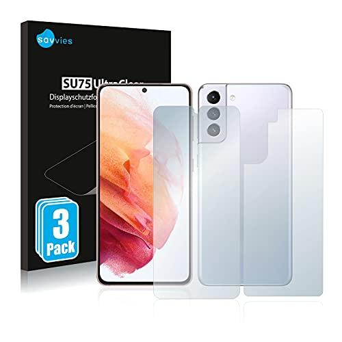 Savvies 6X Schutzfolie kompatibel mit Samsung Galaxy S21 / 5G (Vorder + Rückseite) Bildschirmschutz-Folie Ultra-transparent