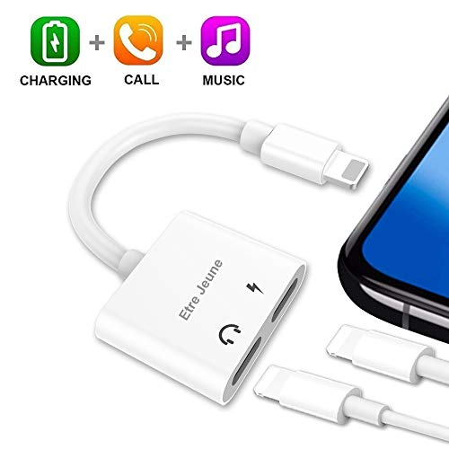 Etre Jeune Dual Adapter Splitter for Headphones and Charger, 4 in 1 Headphone Audio Aux Cable...