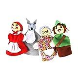 lulongyansf Dedo 4pcs / Set Caperucita Roja de Animales de Navidad Títeres de Juguetes educativos Juguetes muñeca de Dibujos Animados Cuentacuentos Marionetas del Dedo