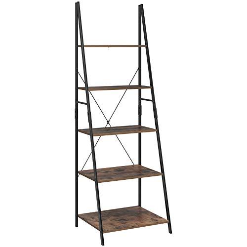 HOMFA Ladder Shelf, 5 Tier Vintage Bookcase, Multifunctional Bookshelf Plant Flower Stand Storage Rack Shelves, Wood Look Accent Metal Frame Modern Furniture Home Office