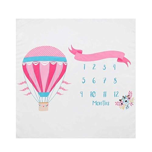 PZNSPY Baby Milestone babydeken, zacht warm, vos-druk, kinderkamer, wikkelen, maandelijkse groei, aantal foto's achtergrond, badhanddoek 14