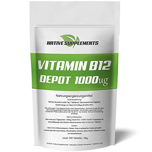 550 Tabletten - Vitamin B12 Depot - XXL Big Pack- Best Preis Garantie - Original Native Supplements Produkt - Hochdosiert und Vegan - Aktives Methylcobalamin - Reines B 12 - Superfood Komplex
