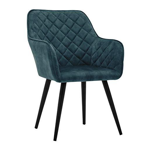 Duhome Esszimmerstuhl Polsterstuhl Armlehnstuhl mit Rückenlehne Sessel Metallbeine 8058-1, Farbe:Blau, Material:Samt Vintage