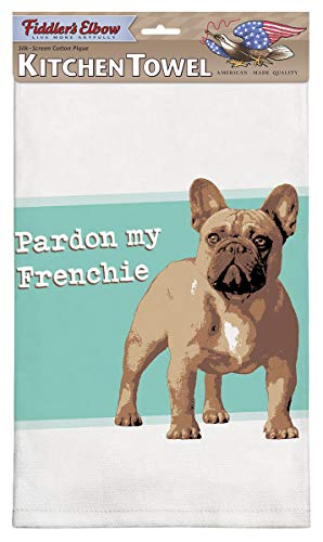 Fiddler's Elbow Pardon My Frenchie French Bulldog Kitchen Towel, 100% Cotton Dog Themed Towel, Eco-Friendly Dish Towel with Hanging Loop, Frenchie Loviers