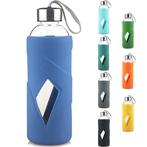Reeho Sport Botella de Agua de Cristal con Funda Siliconia y Tapa de Acero Inoxidable 1000ml / 1 Litro