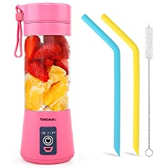 Smart Safety Protection System: Magnetic sensing switch ultra safe to use and clean, the juicer cup will stop working when body and bottom separated. 380ML capacity Mini blender, quit portable. Upgrade 6 Blades Mixing: 6 Blades portable blender has s...