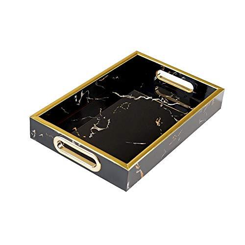 AWYJ Dekorative Tablett Faux Marmor-Bad-Badezimmer Vanity-Behälter for Schmuck, Parfüm, Make-Up, Kosmetik Lagerung und Organisation Schwarz Weiß Finish Tray für Vanity (Color : Black, Size : M)
