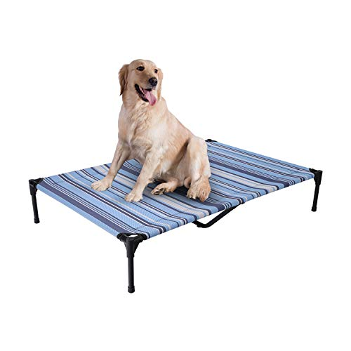 Veehoo Cooling Elevated Dog Bed, Portable Raised Pet Cot with Washable & Breathable Mesh, No-Slip Rubber Feet for Indoor & Outdoor Use, X Large, Breton Stripe