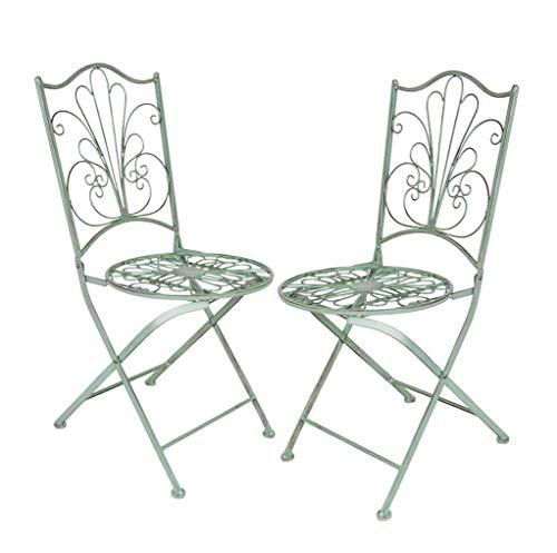 Spetebo Metall Klappstuhl in antik grün - 2er Set - Garten Stuhl Bistrostuhl Balkonstuhl
