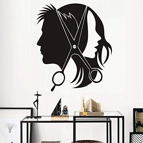 BailongXiao Pegatinas de Pared para peluquería calcomanías de Vinilo Hermosas Chicas Hombres Tijeras de Corte de Pelo Pegatinas para barbería calcomanías de Pared murales Decorativos