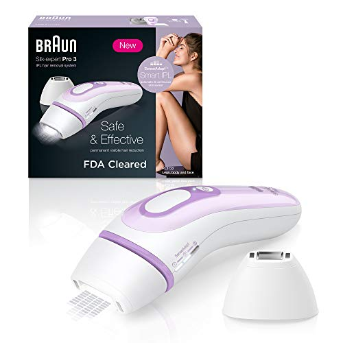 Braun IPL Hair Removal for Women, Silk Expert Pro 3 PL3111 with Venus Smooth Razor, FDA Cleared, Permanent Reduction in Hair Regrowth for Body & Face, Corded, White/Lilac