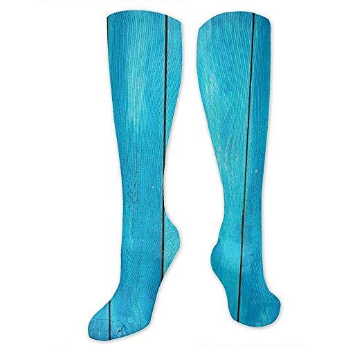 Lange Sokken Zee Blauw Oude Houten Eiken Plank Gestreepte Houten Reizen Atletische Compressie Sokken Vrouwen Mannen Runners Beste Medische Stocking Moederschap Hardlopen 50Cm