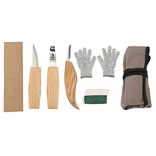 5Pcs houtsnijwerkgereedschapset, houtsnijgereedschapset, hand houtgravure beitels meslepel snijgereedschapset, voor het graveren van hout, klei, was, enz.