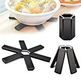 Folding Non Slip Heat Insulation Pads, Silicone Heat Insulating Placemat, Heat Resistant Cushion Pan Pot Pad holder for Kitchen,Restaurant,Outdoor Dinner 3pcs