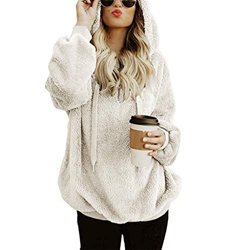 Damen Hoodie mit Teddy Fleece Warme Herbst Winter KapuzenpulloverFrauen Beiläufige Plush Longpullover Sweatershirt Mantel Langarmshirt Oberteil
