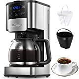 Programmable Coffee Maker, 12 Cups Glass Carafe with Keep Warming Pad, Mid-Brew Pause, Coffee Machine with Strength Control and Permanent Coffee Filter basket, Anti-Drip System, by Yabano