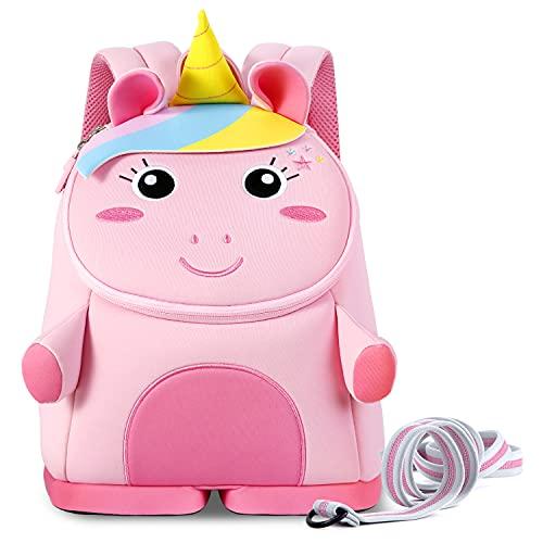 NOHOO Toddler Girls Unicorn Backpack Kids Leash Backpack,Cute Soft Cartoon Animal School Bag Travel Bag for Boys and Girls 1~6 Years Old