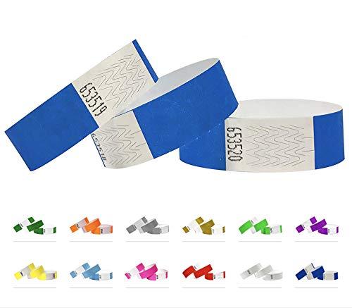 1000 Eintrittsbänder aus Tyvek - Party Einlassbänder, Securebänder, Festival Armbänder, Kantrollbänder für dein Event (Neon Blue, 1000 Pack)